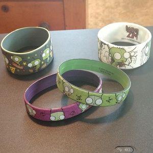 Invader Zim Rubber Bracelet Lot Hot Topic